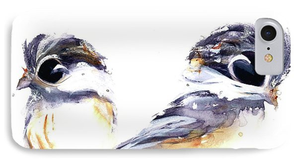 IPhone Case featuring the painting 2 Chickadees by Dawn Derman