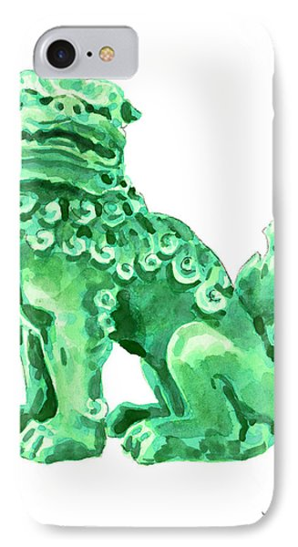 Chinese Foo Dog - Fu Guardian Lion Jade Green Carved Asian Antique Chinoiserie IPhone Case by Laura Row