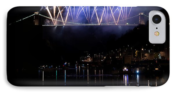 IPhone Case featuring the photograph Clifton Suspension Bridge Fireworks by Colin Rayner