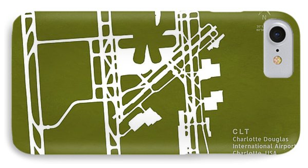 Clt Charlotte Douglas International Airport In Charlotte North C IPhone Case by Jurq Studio