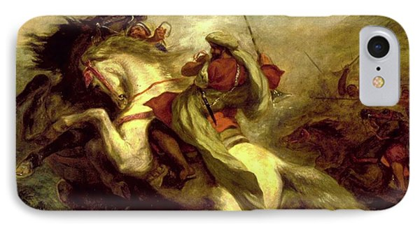IPhone Case featuring the painting Collision Of Moorish Horsemen by Eugene Delacroix