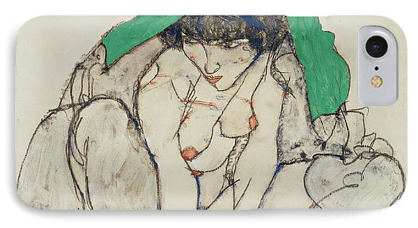 Crouching Woman With Green Headscarf  IPhone Case by Egon Schiele
