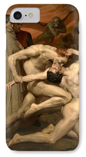 Dante And Virgil In Hell  IPhone Case by William-Adolphe Bouguereau