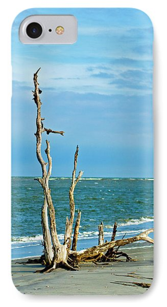 Driftwood On Beach Phone Case by Bill Barber
