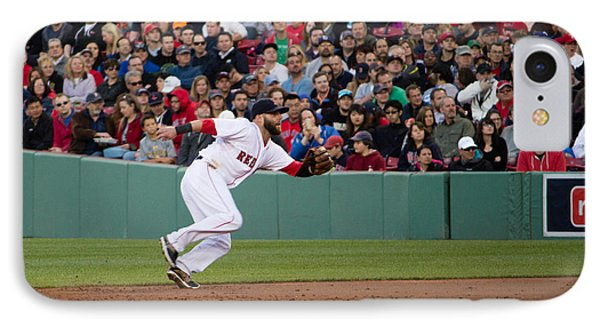 Dustin Pedroia IPhone Case by Monica Wellman