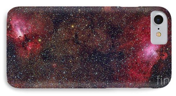 Eagle Nebula And Swan Nebula IPhone Case by Roberto Colombari