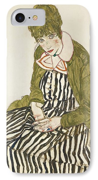 Edith With Striped Dress, Sitting IPhone Case by Egon Schiele