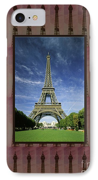 IPhone Case featuring the photograph Effel Tower Paris France Landmark Photography Towels Pillows Curtains Tote Bags by Navin Joshi
