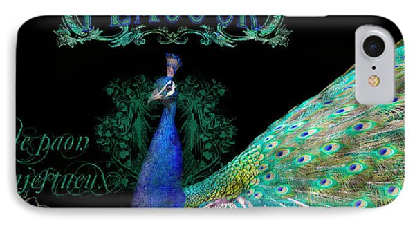 Elegant Peacock W Vintage Scrolls  IPhone Case by Audrey Jeanne Roberts