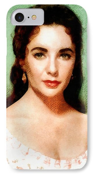 Elizabeth Taylor Hollywood Actress IPhone Case by John Springfield