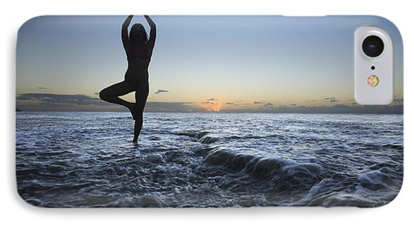 Female Doing Yoga At Sunset Phone Case by Brandon Tabiolo - Printscapes