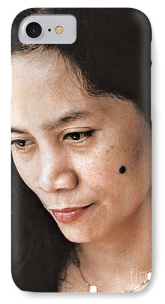 Filipina Beauty With A Mole On Her Cheek Phone Case by Jim Fitzpatrick