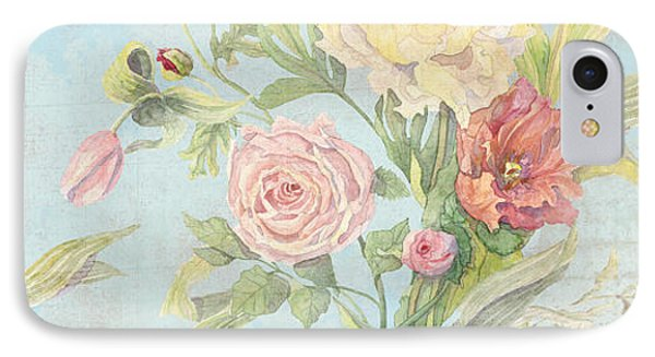 Fleurs De Pivoine - Watercolor In A French Vintage Wallpaper Style IPhone Case by Audrey Jeanne Roberts