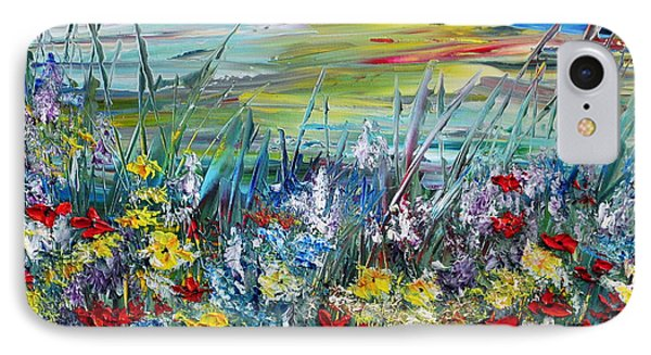 IPhone Case featuring the painting Flower Field by Teresa Wegrzyn