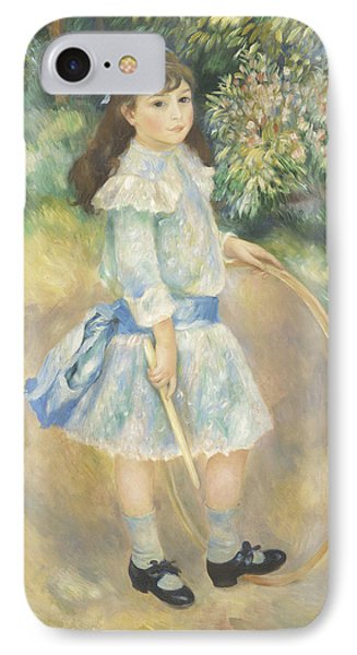Girl With A Hoop IPhone Case by Pierre Auguste Renoir
