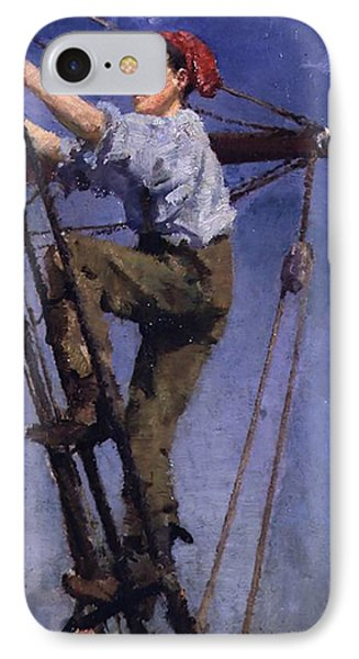 IPhone Case featuring the painting Going Aloft by Henry Scott Tuke