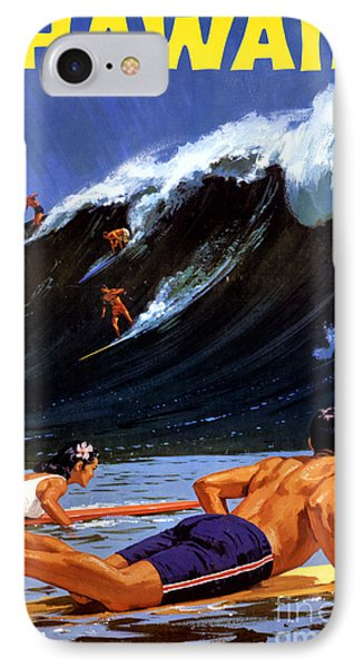 Hawaii Vintage Travel Poster Restored IPhone Case