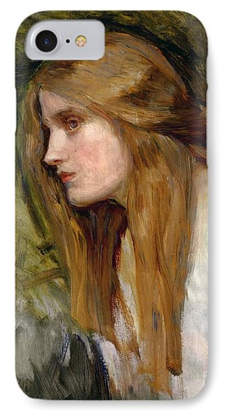 Head Of A Girl Phone Case by John William Waterhouse