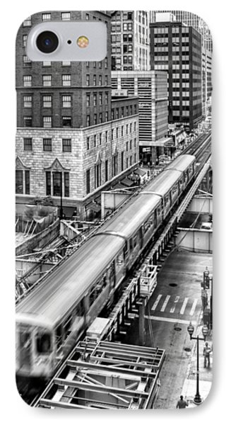 Historic Chicago El Train Black And White IPhone Case by Christopher Arndt