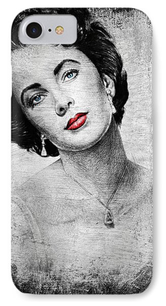 Hollywood Greats Elizabeth Taylor IPhone Case by Andrew Read