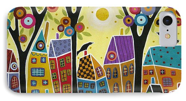 Houses Trees And Birds IPhone Case by Karla Gerard