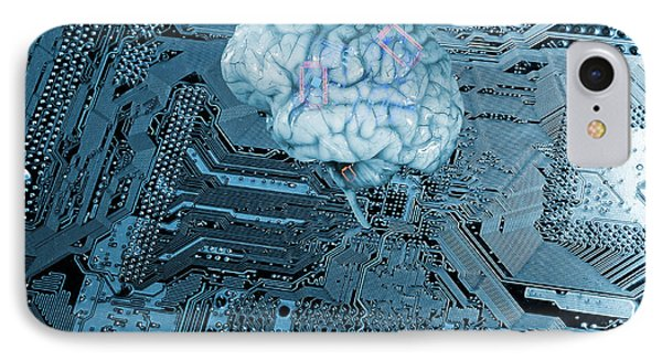 IPhone Case featuring the photograph Human Brain And Communication by Christian Lagereek