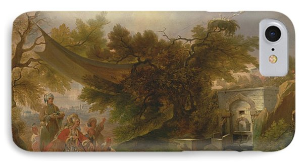 Indian Landscape With Figures Near A Stream IPhone Case by William Daniell