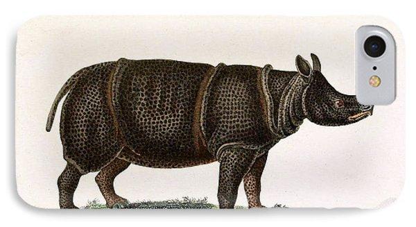 Javan Rhinoceros, Endangered Species IPhone Case by Biodiversity Heritage Library