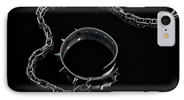 Leather Studded Collar And Chain IPhone Case by Allan Swart