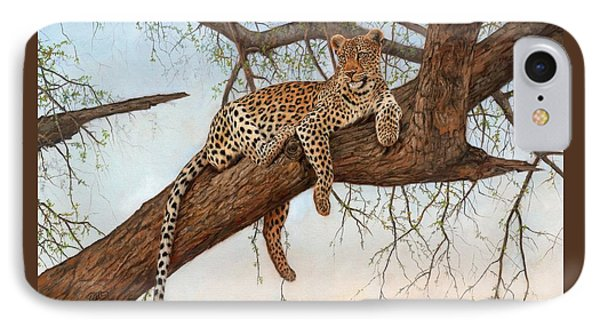 Leopard In Tree IPhone Case by David Stribbling