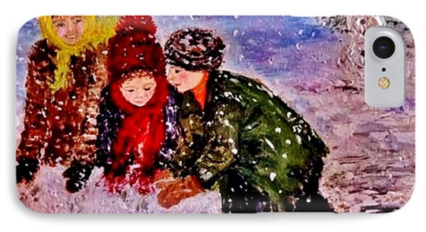 IPhone Case featuring the painting Let It Snow..let It Snow..  by Cristina Mihailescu