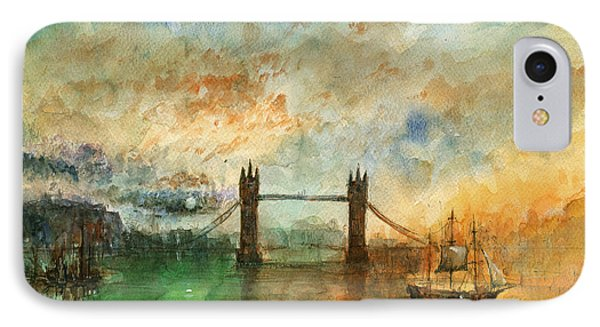 London Watercolor Painting IPhone 7 Case by Juan  Bosco