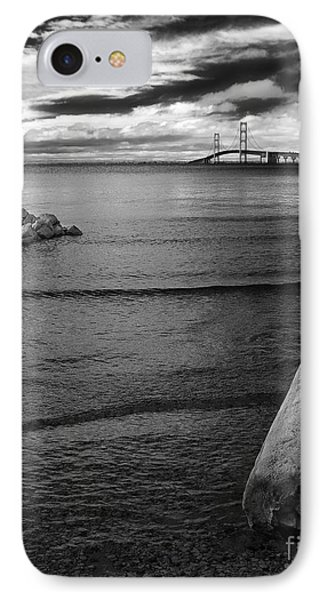 Mackinac Bridge - Infrared 01 IPhone Case by Larry Carr