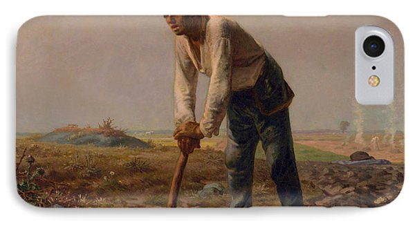 Man With A Hoe IPhone Case by Jean Francois Millet
