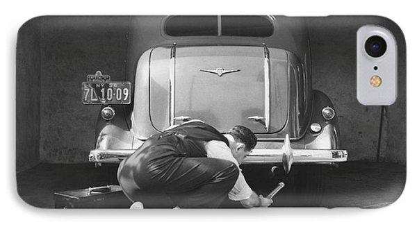 Man Working On His Car IPhone Case by Underwood Archives