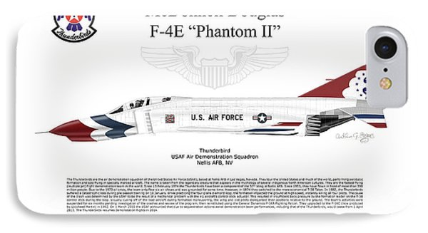 IPhone Case featuring the digital art Mcdonnell Douglas F-4e Phantom II Thunderbird by Arthur Eggers