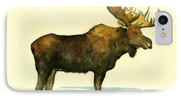 Moose Watercolor Painting. IPhone Case by Juan  Bosco
