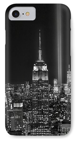 Central Park iPhone 7 Case - New York City Tribute In Lights Empire State Building Manhattan At Night Nyc by Jon Holiday