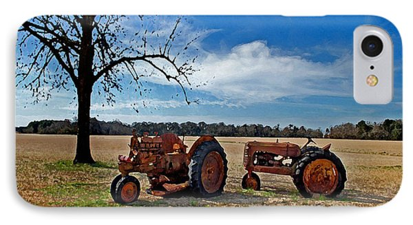 2 Old Tractors And The Tree Phone Case by Michael Thomas