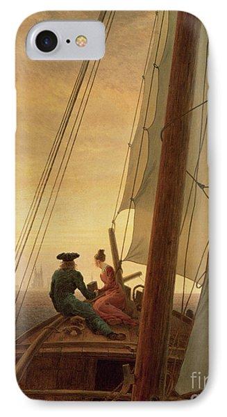 On Board A Sailing Ship IPhone Case by Caspar David Friedrich