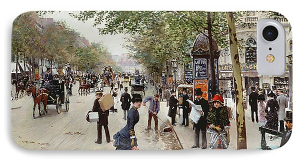 Parisian Street Scene IPhone Case by Jean Beraud