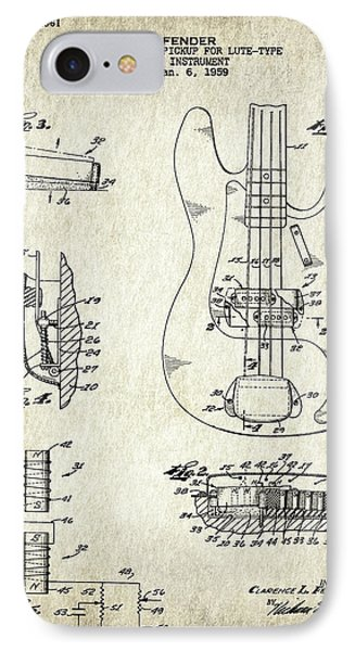 Patent Drawing For The 1959 Electromagnetic Pickup For Lute Type Musical Instrument By C. L. Fender IPhone Case by Jose Elias - Sofia Pereira