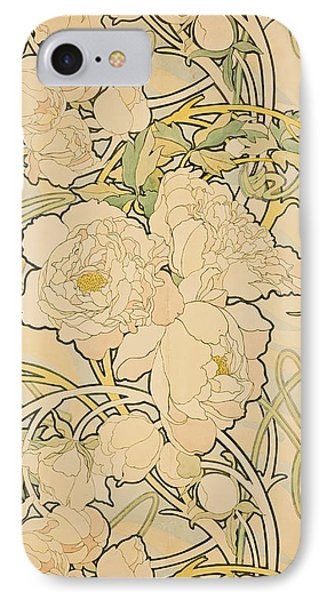 Flowers iPhone 7 Case - Peonies by Alphonse Mucha