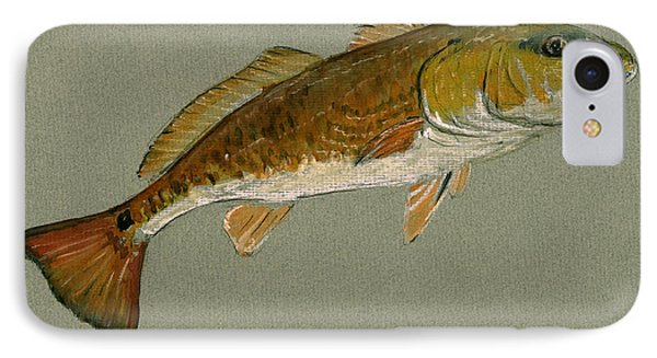 Redfish Painting IPhone Case by Juan  Bosco