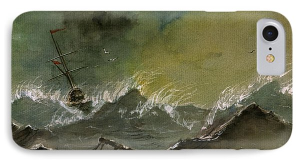 Sail Ship Watercolor IPhone Case