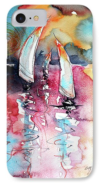 IPhone Case featuring the painting Sailboats by Kovacs Anna Brigitta