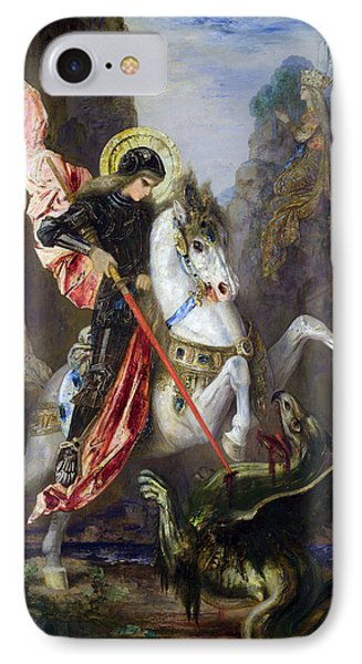 Saint George And The Dragon IPhone Case by Gustave Moreau