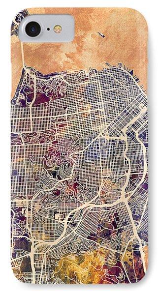 San Francisco City Street Map IPhone Case by Michael Tompsett