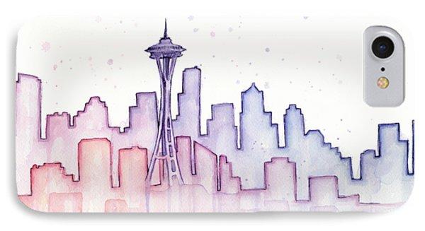 Seattle Skyline Watercolor IPhone 7 Case by Olga Shvartsur