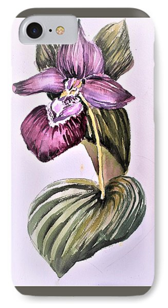 IPhone Case featuring the painting Slipper Foot Orchid by Mindy Newman